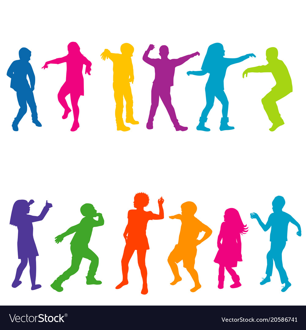 Colorful silhouettes children dancing