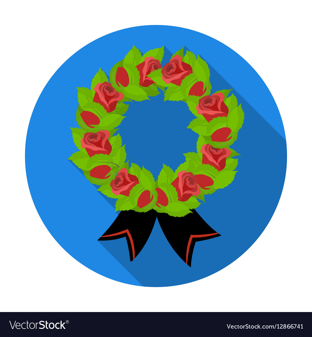 Funeral wreath icon in flat style isolated on