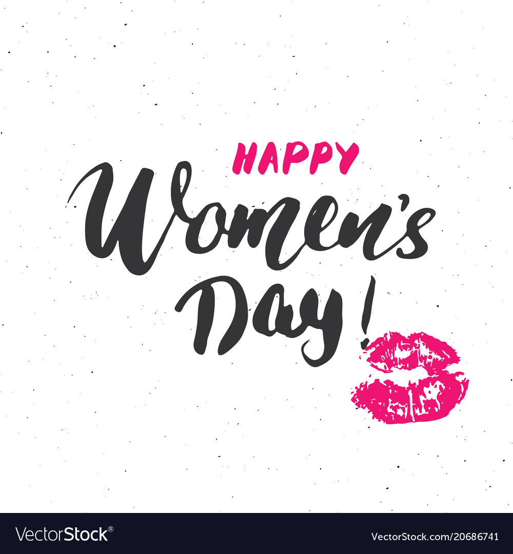 Happy womens day hand letterings set holiday