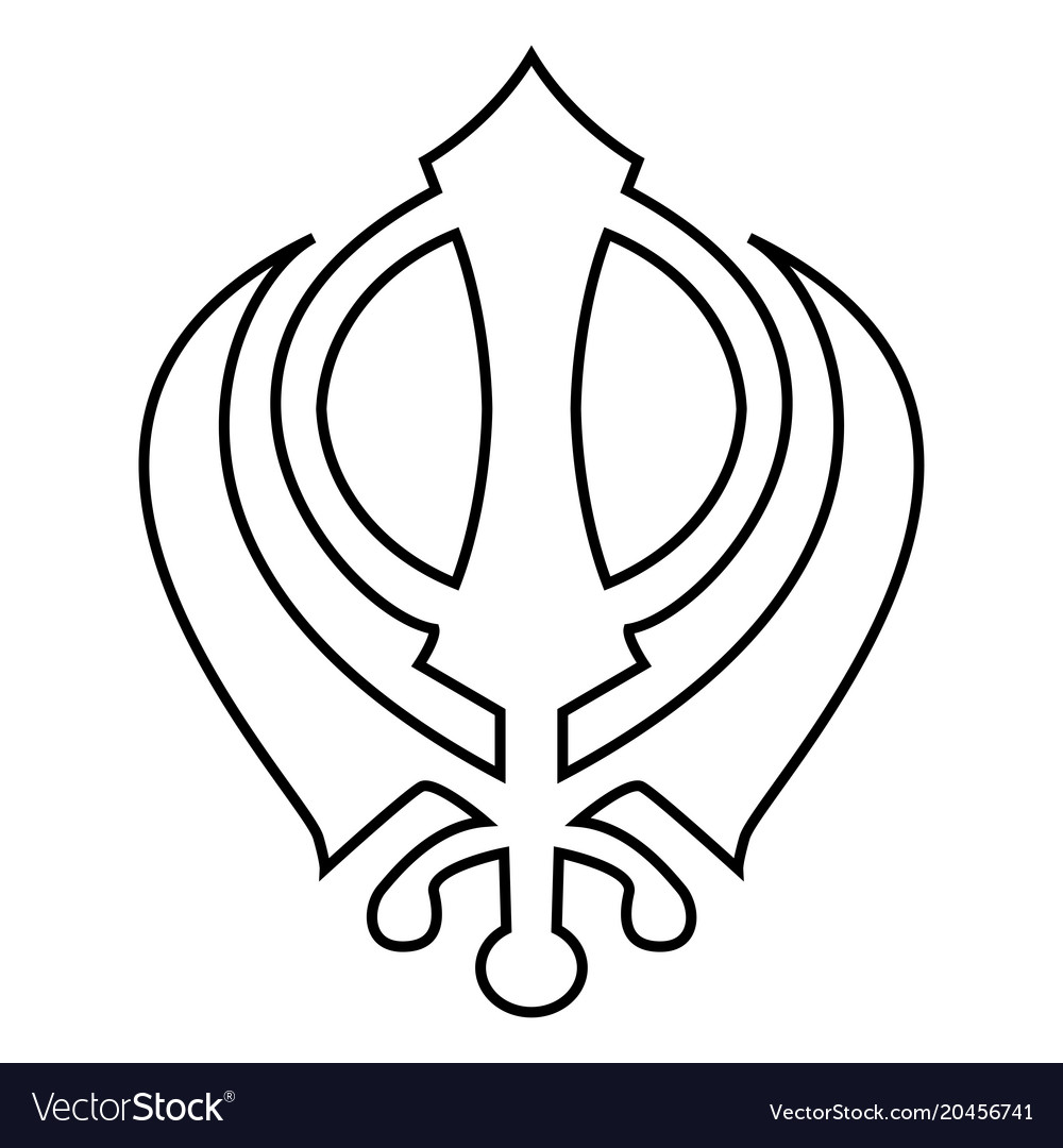 Khanda Symbol Sikhi Sign Icon Black Color Flat Vector Image