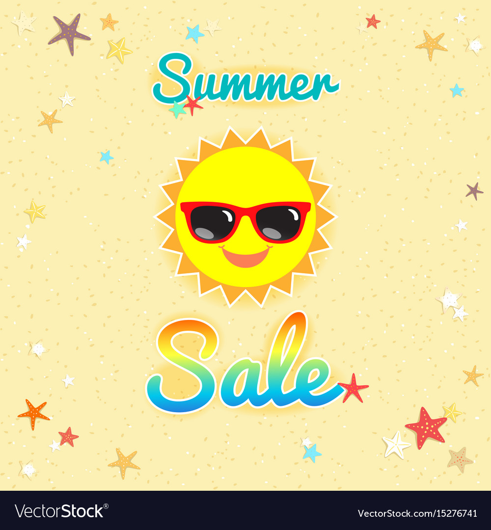 Summer sales banner or poster with smiley sun