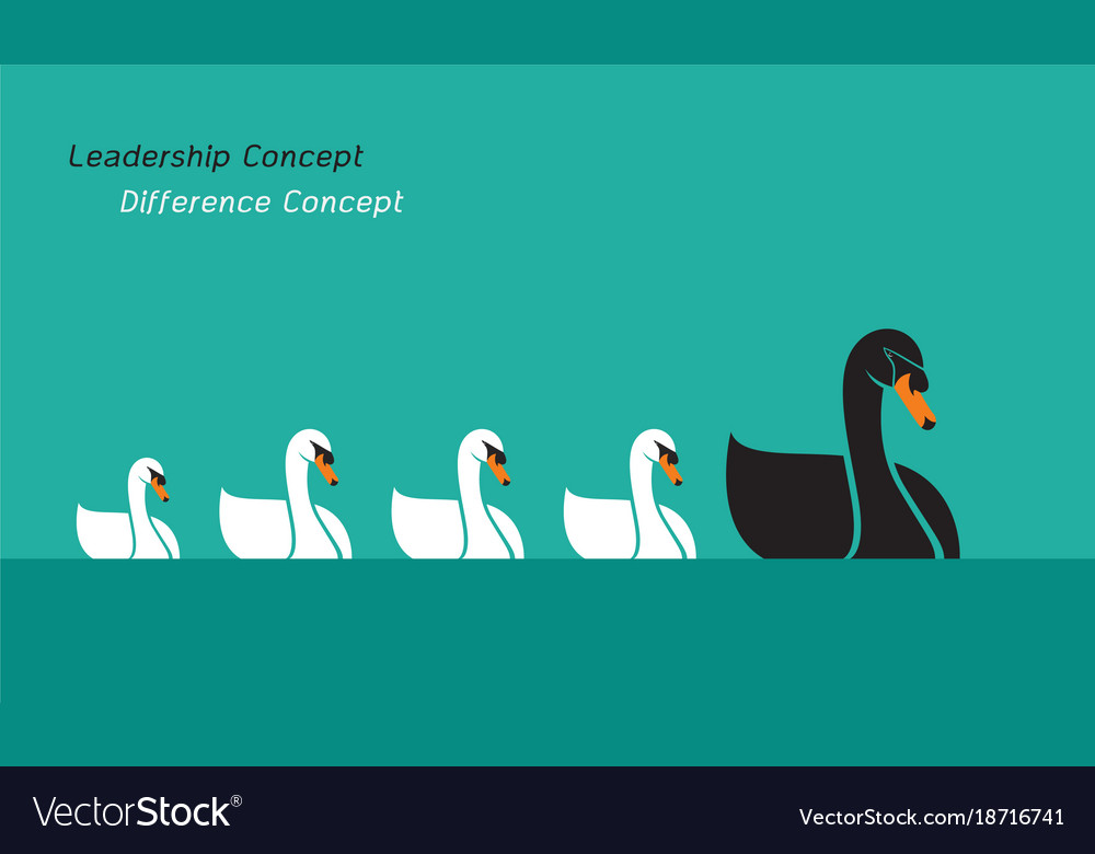 Swan family on blue background leadership concept