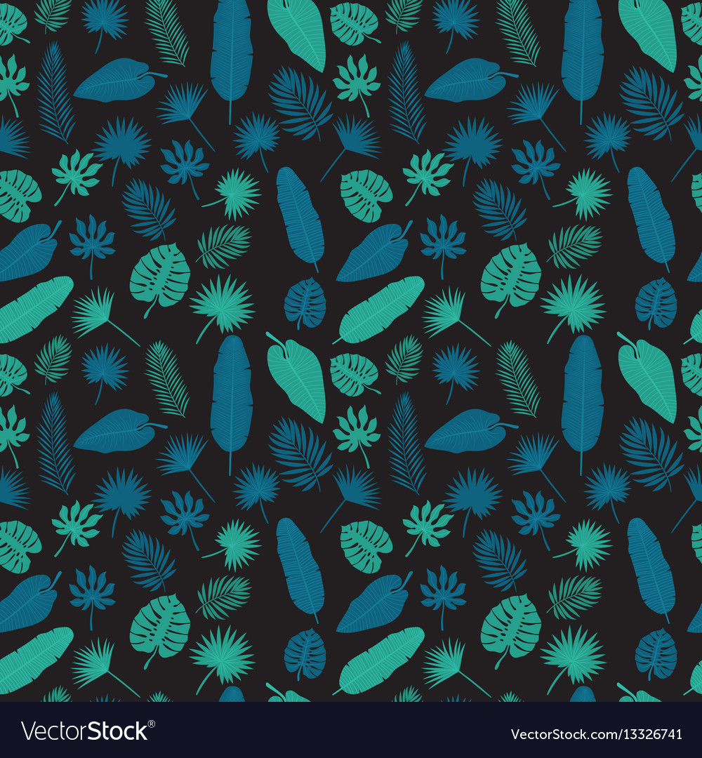 Tropical leaves seamless pattern exotic floral