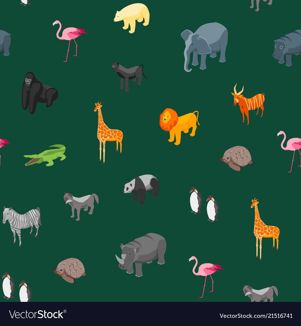 Wild animals seamless pattern background isometric