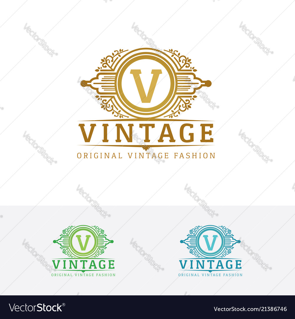 Elegant fashion logo with letter v