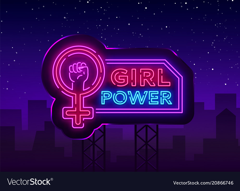 Girls power neon sign fashionable slogan feminist