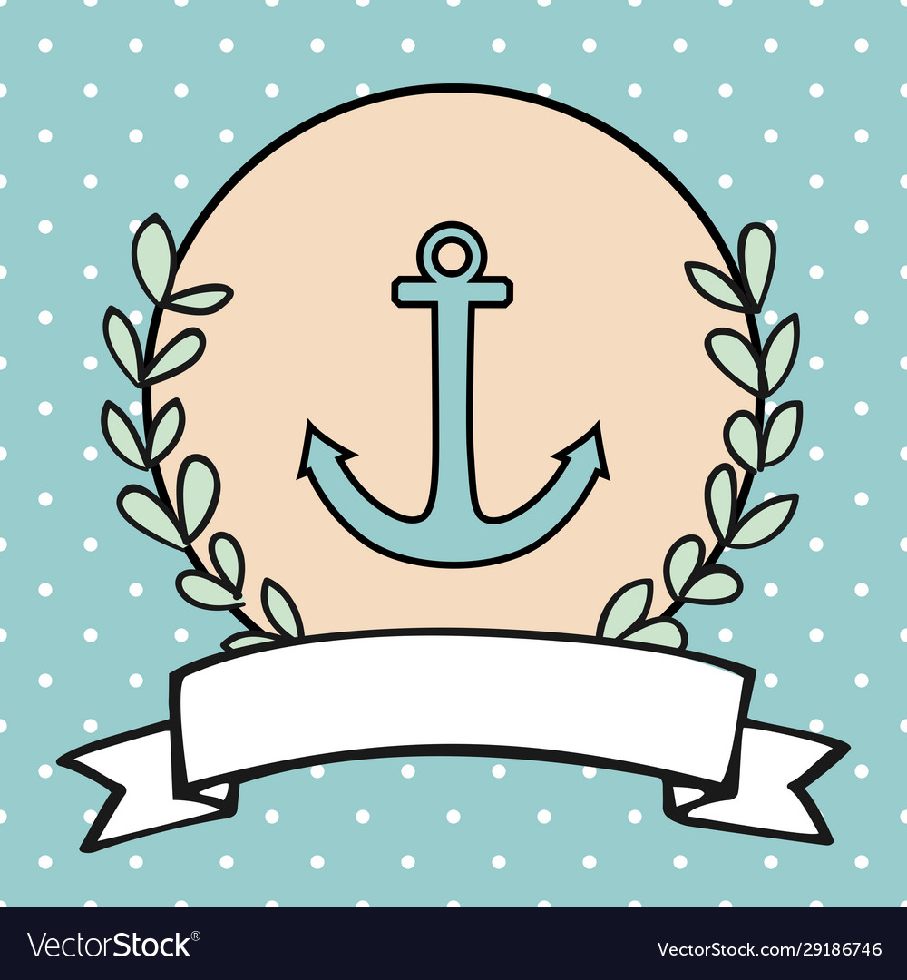 Nautical card or sailor invitation with anchor