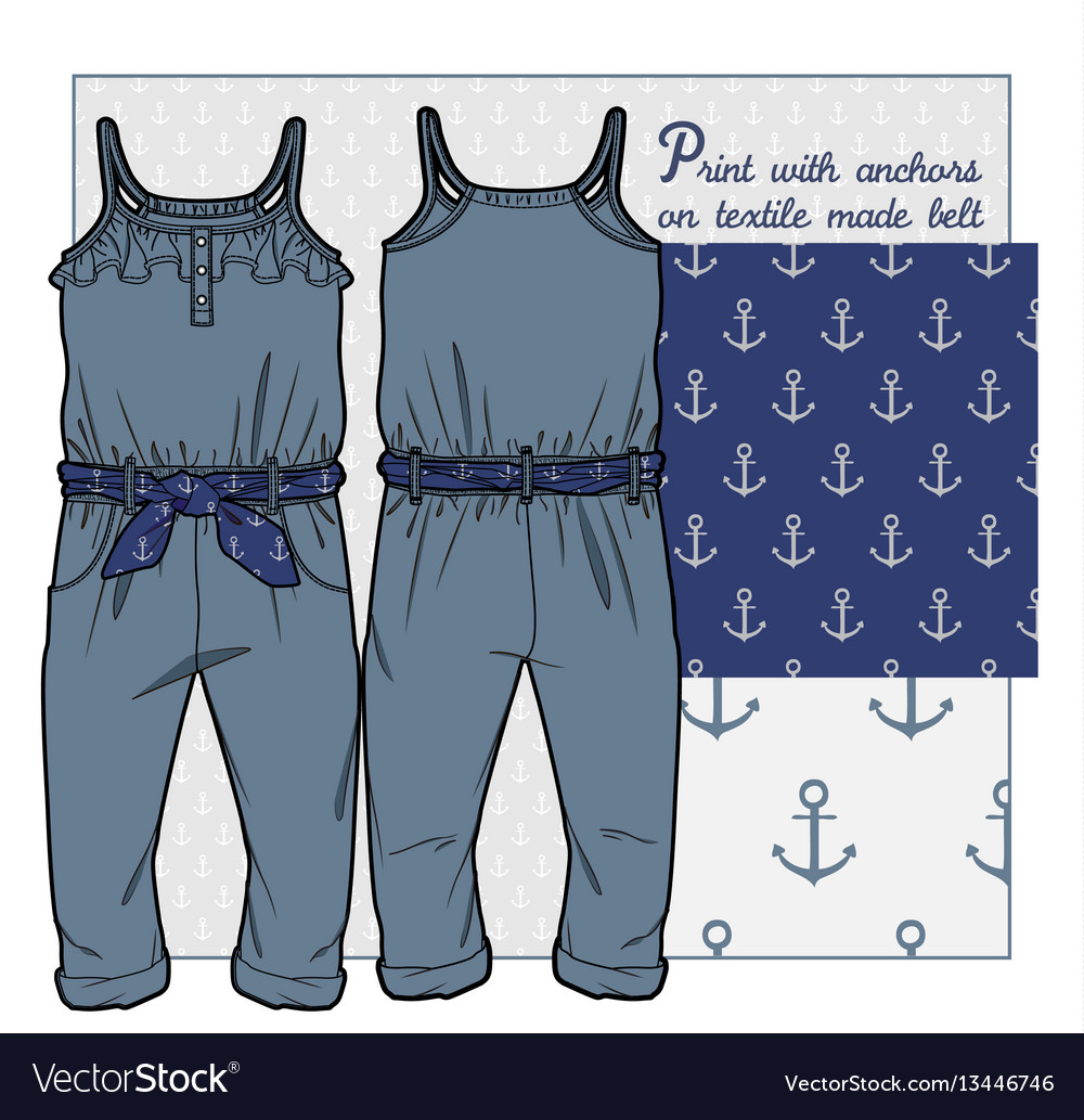 Overall for girls vector image