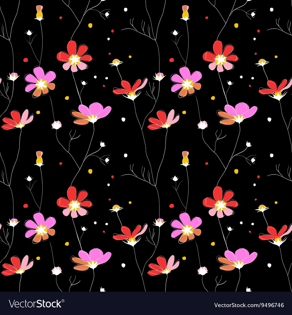 Pink flowers seamless pattern on black background vector image mightylinksfo