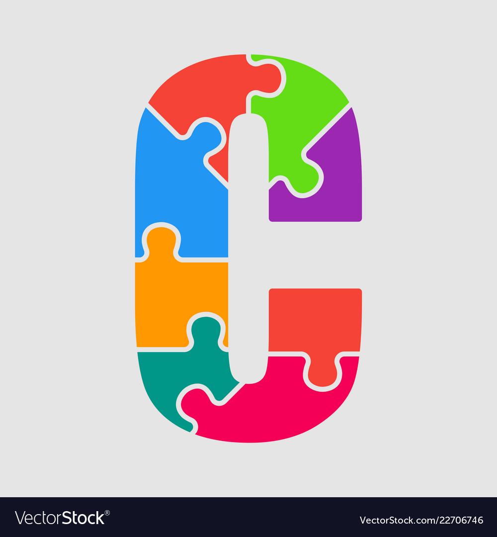 Puzzle jigsaw letter - c puzzle pieces