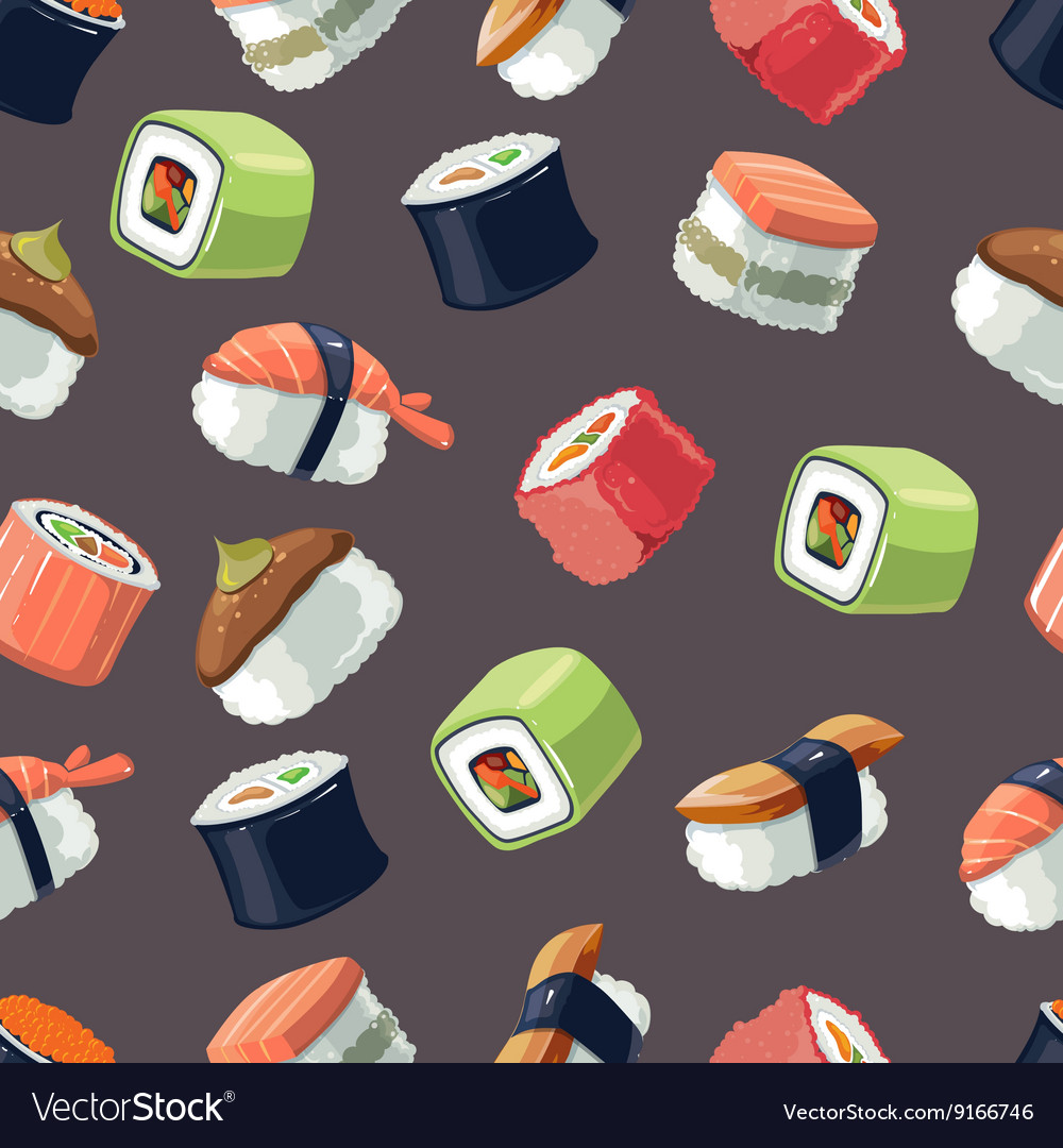 Seamless Pattern with picture set of Sushi