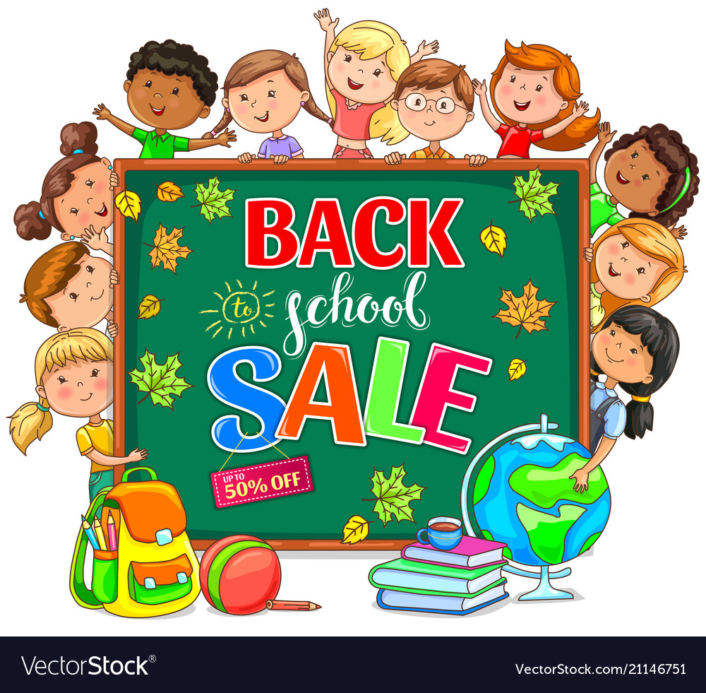 Back to school sale with school board and