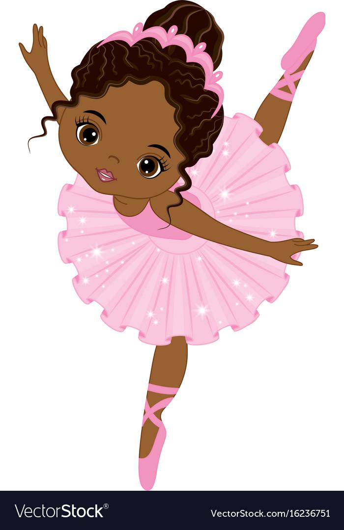 cute little african american ballerina royalty free vector