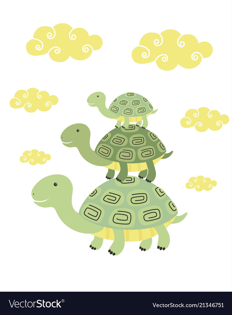 Funny cartoon turtle print