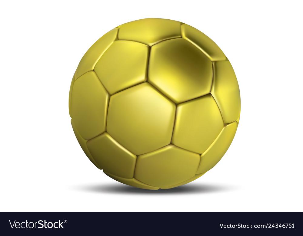 Golden football ball gold soccer ball isolated on