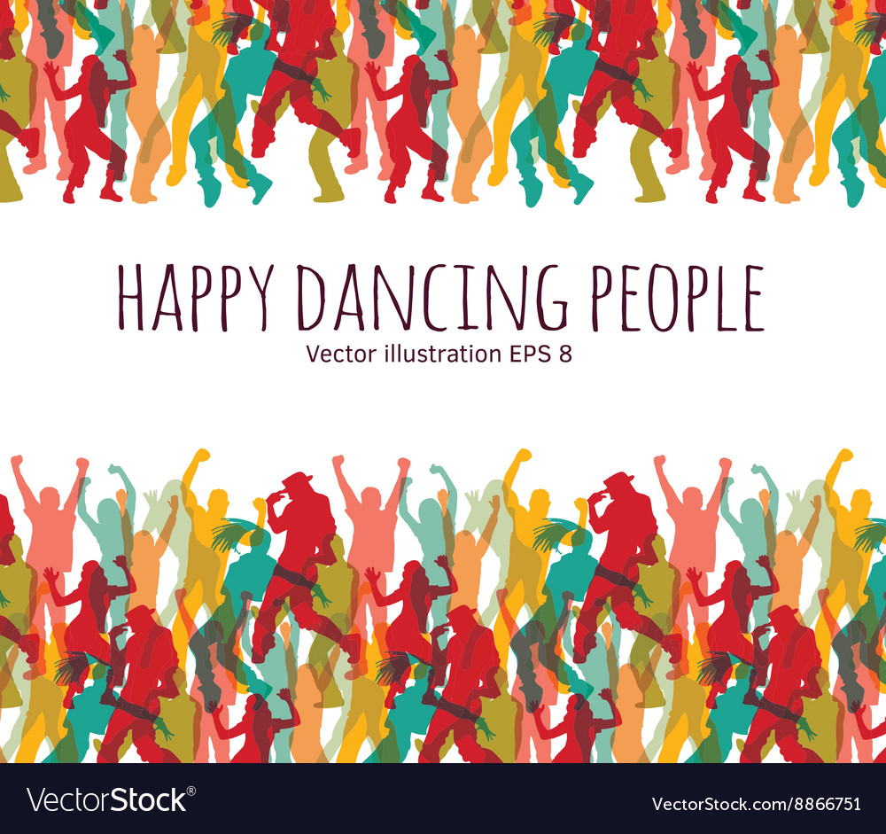 Happy dancing people background frame