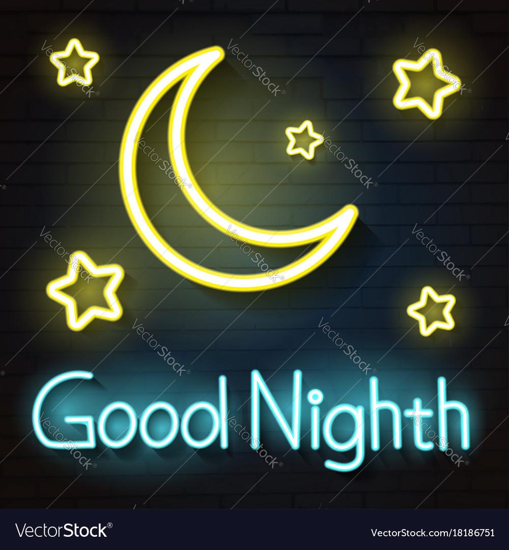 Night moon neon sign vector image