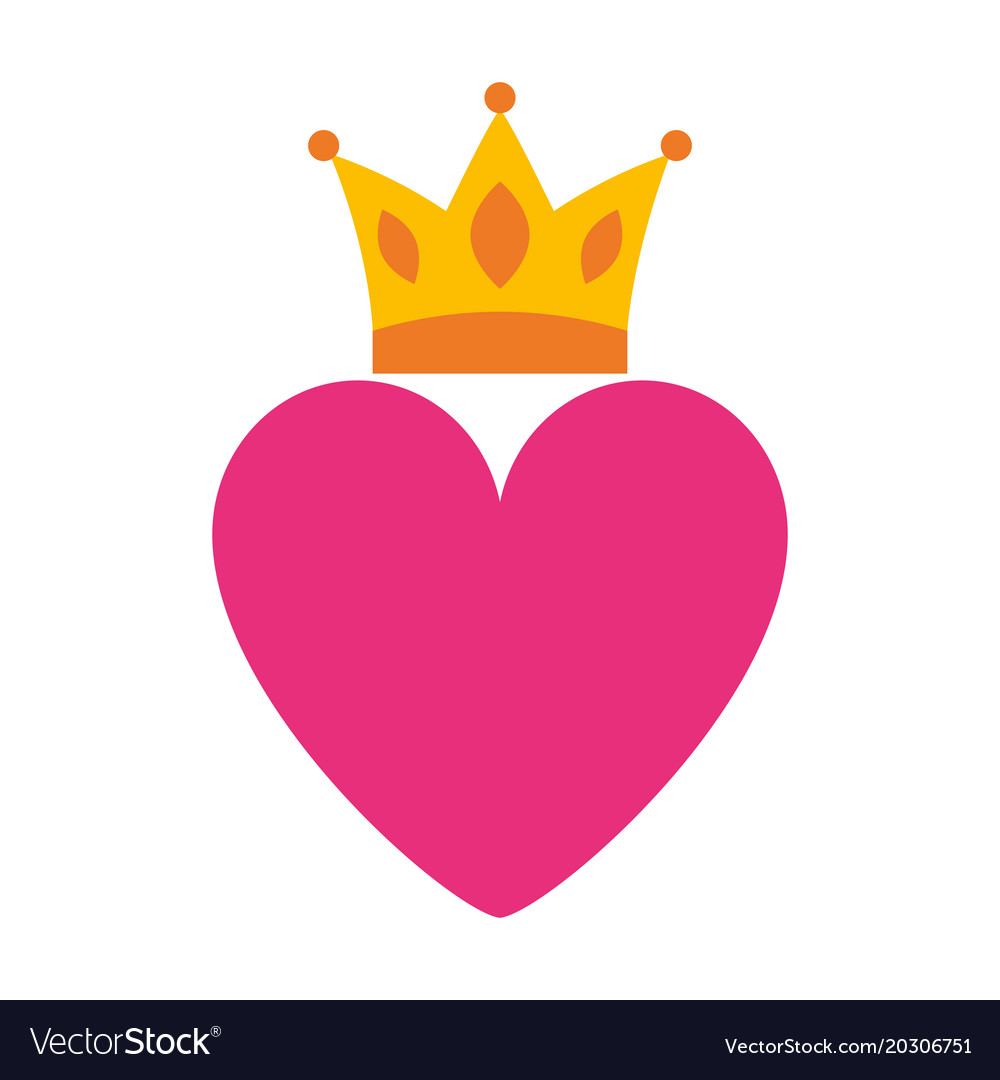Pink heart love crown romantic passion icon