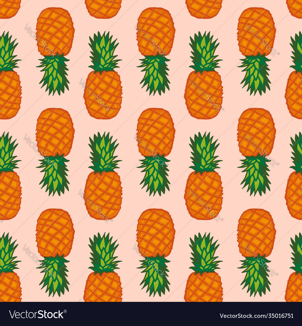 Seamless pattern with pineapples graphic stylized