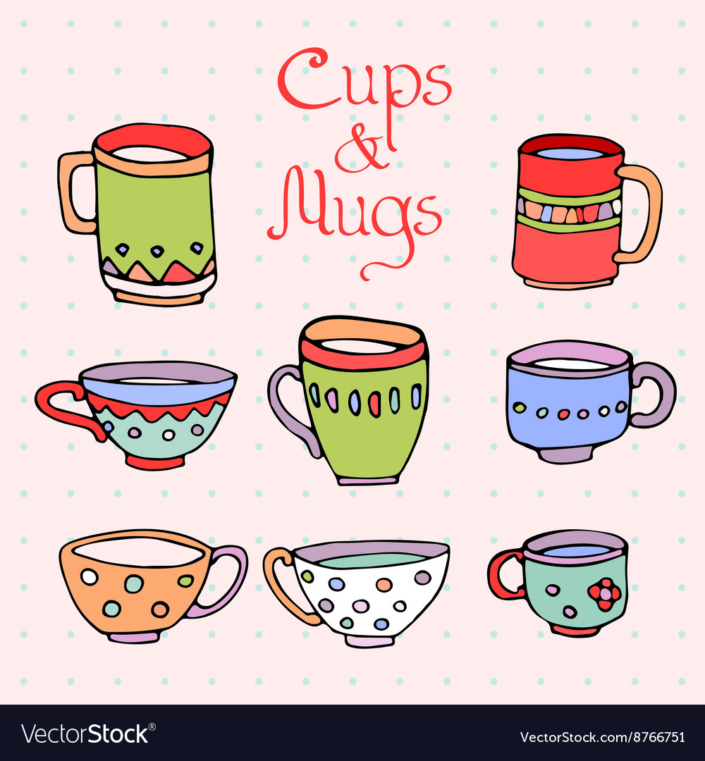 Set of 8 cute mugs and cups