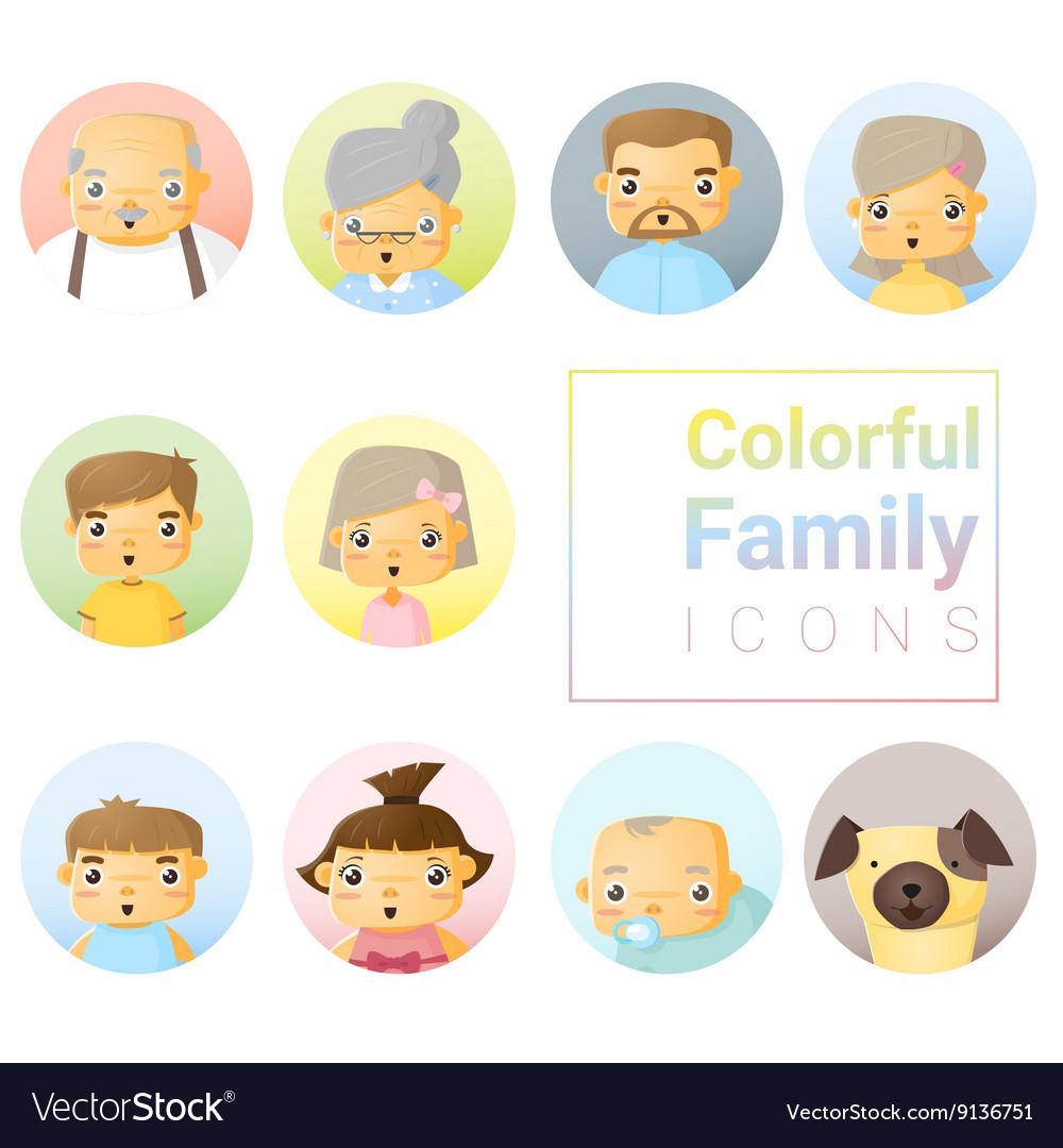 Set of colorful family icons