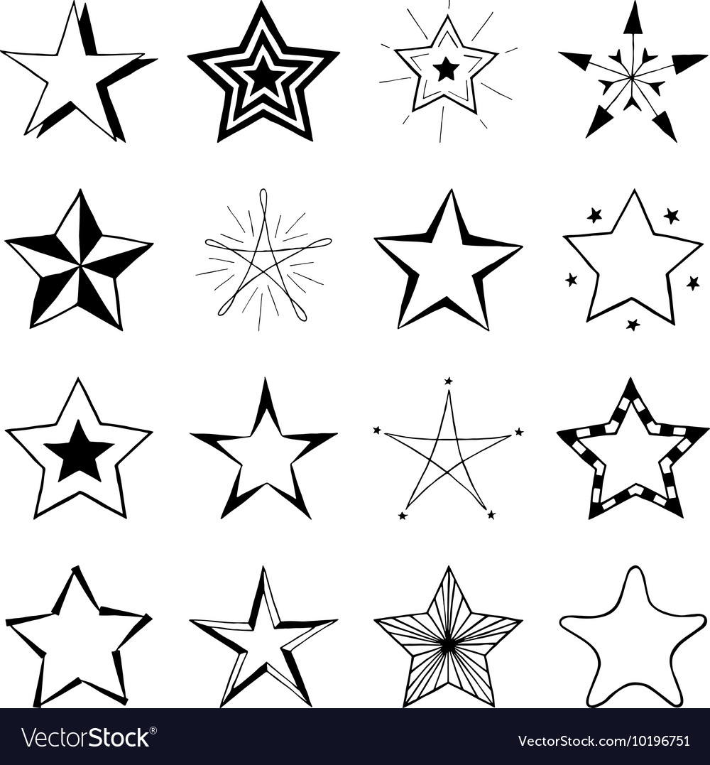 Set of hand drawn stars doodle signs