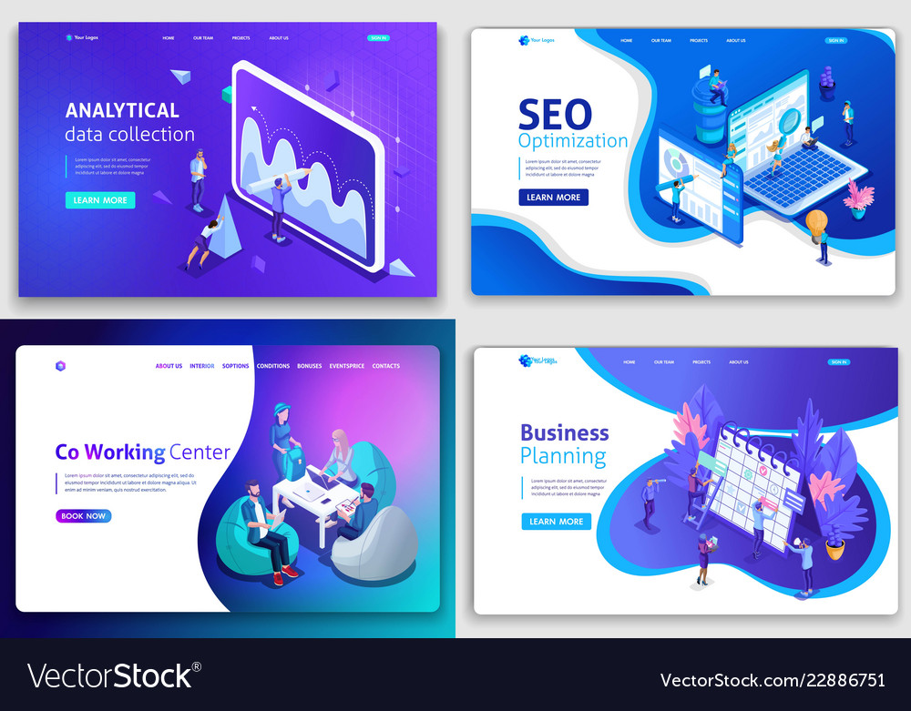 Set of web page design templates for business