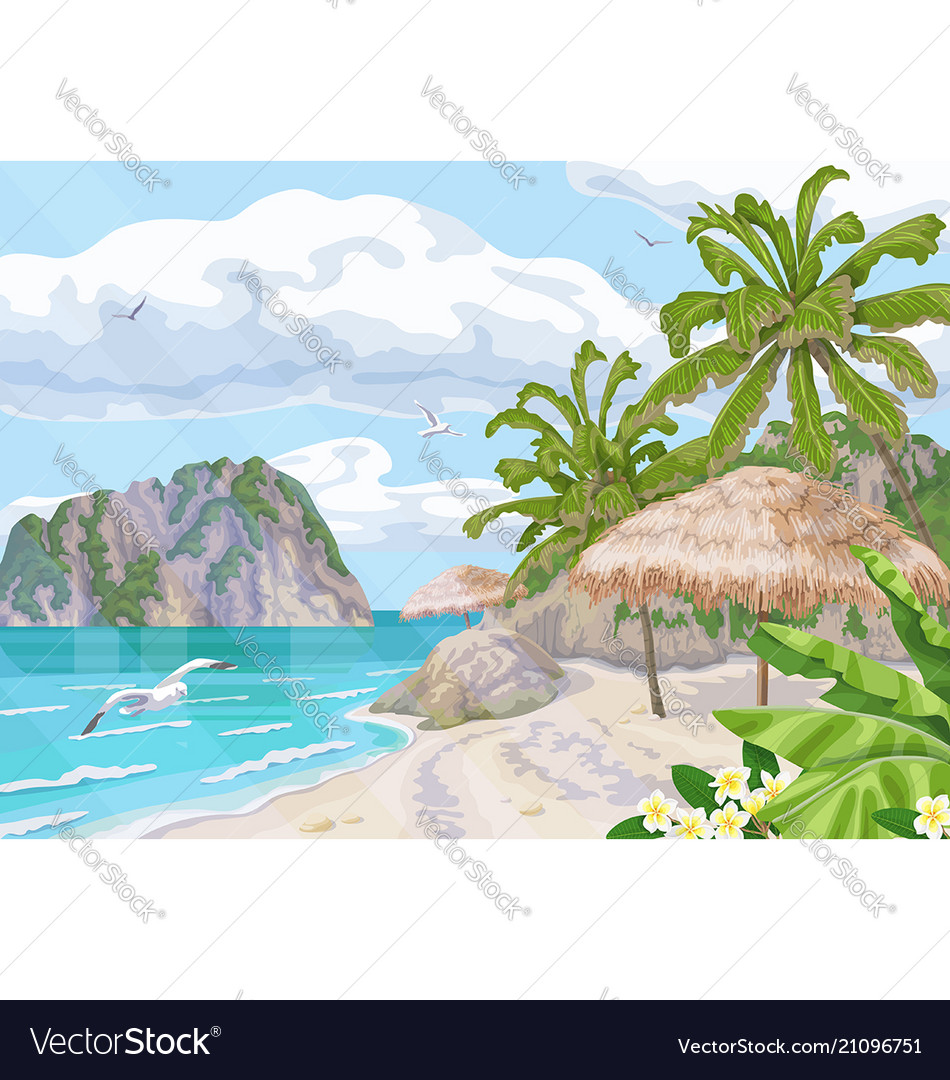 Tropical beach with parasol and palm trees