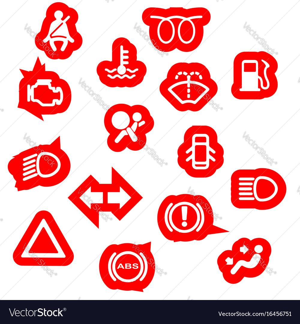 vehicle dash warning symbols royalty free vector image