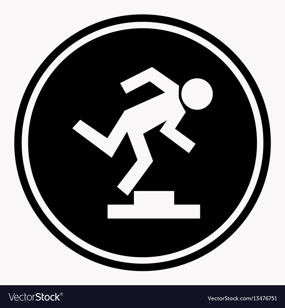 Warning logo sign with stumbling person because of