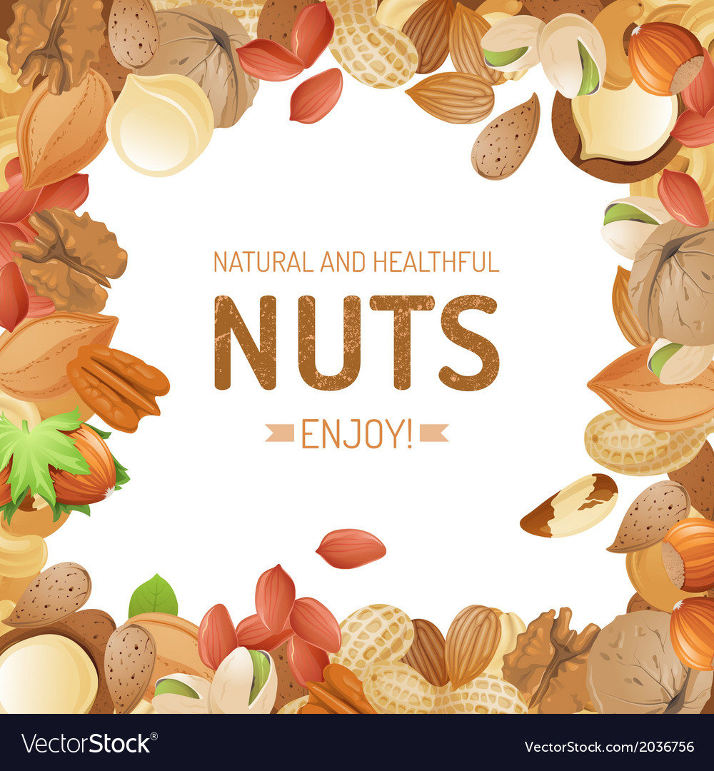 Background with different nuts