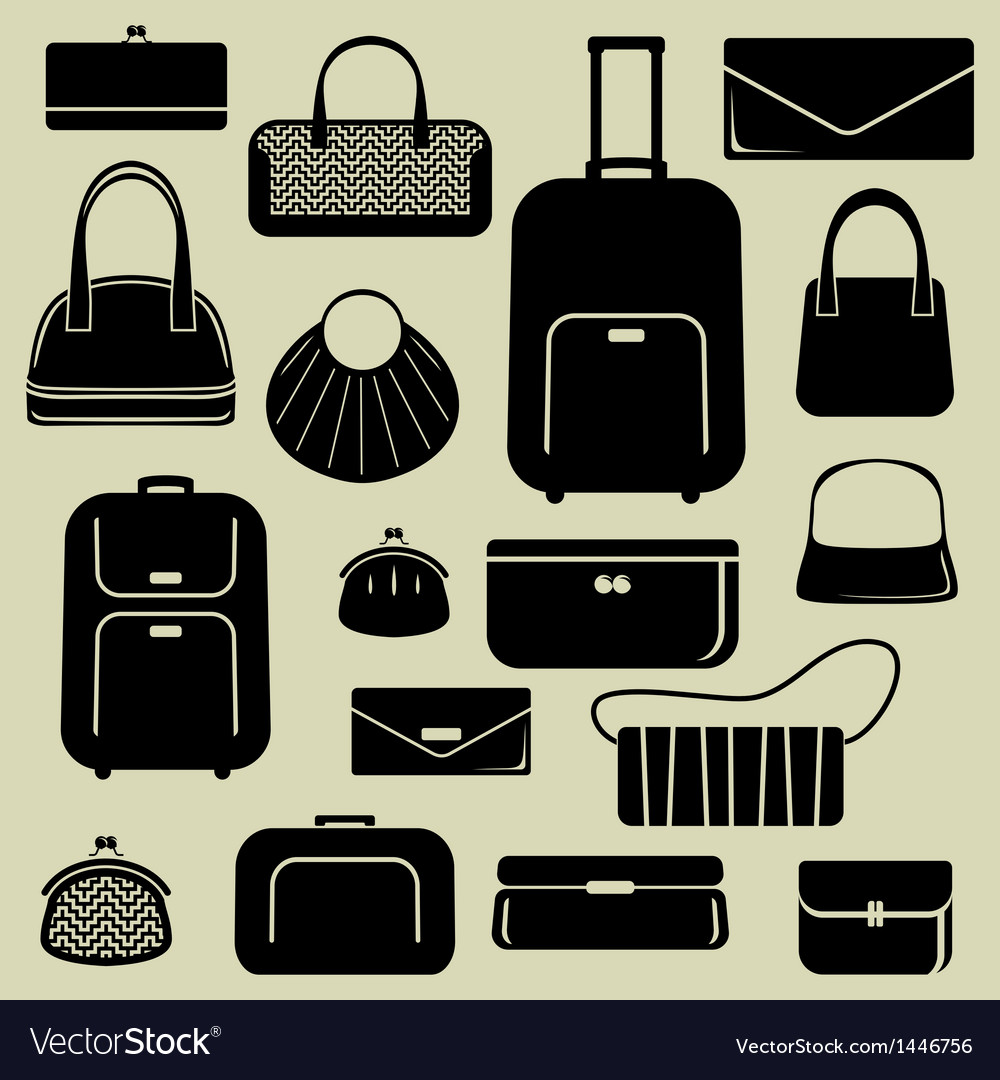 Bags suitcases icons set
