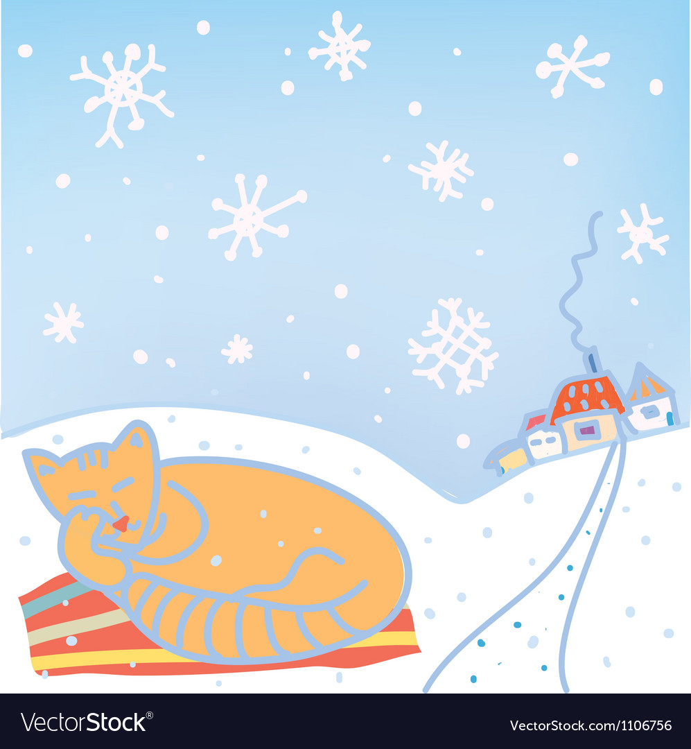 Christmas card with cat and snow