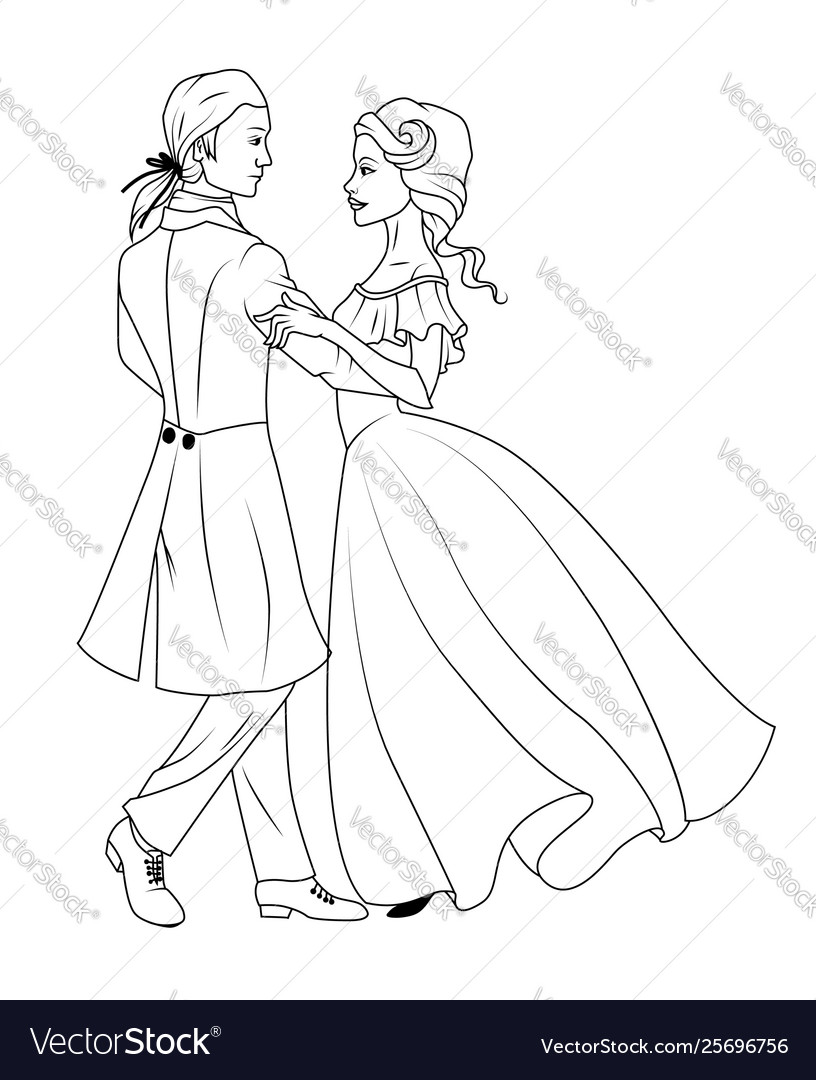 Coloring book couple dancing waltz
