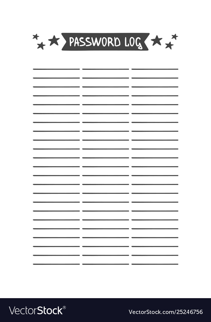 photograph about Password Log Printable called Pword log template