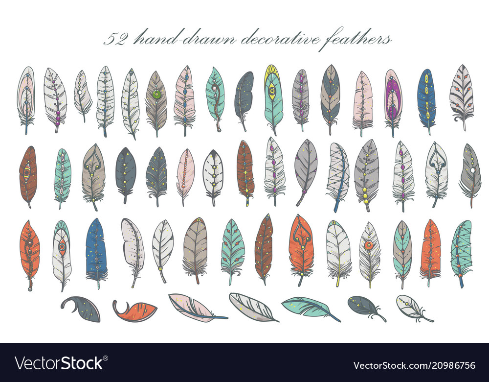 Set of hand-drawn decorative feathers