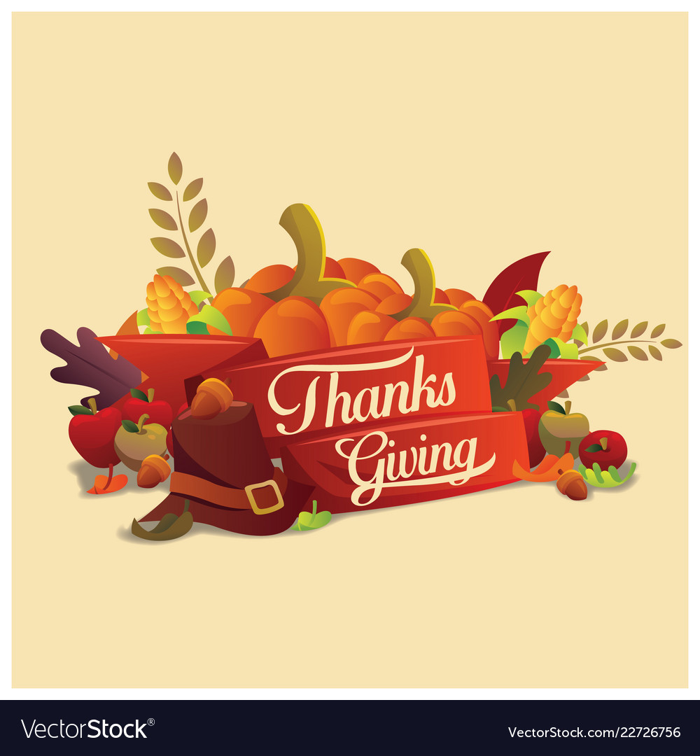 Thanksgiving typography with ornametn and item