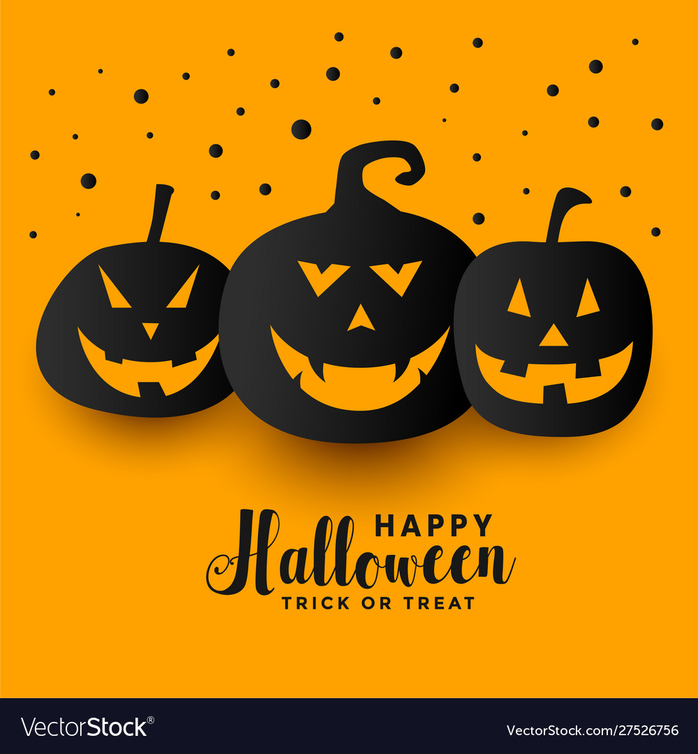 Yellow Happy Halloween Festival Holiday Pumpkin Vector Image