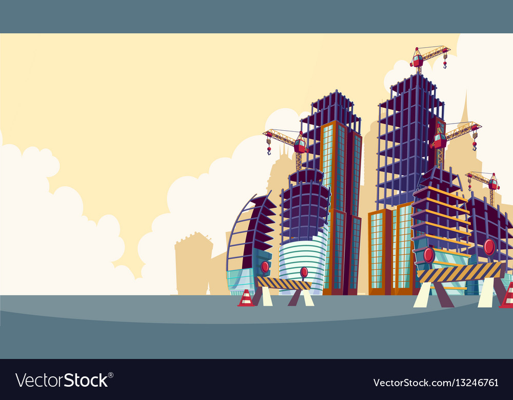 Cartoon of the process of the construction of vector image