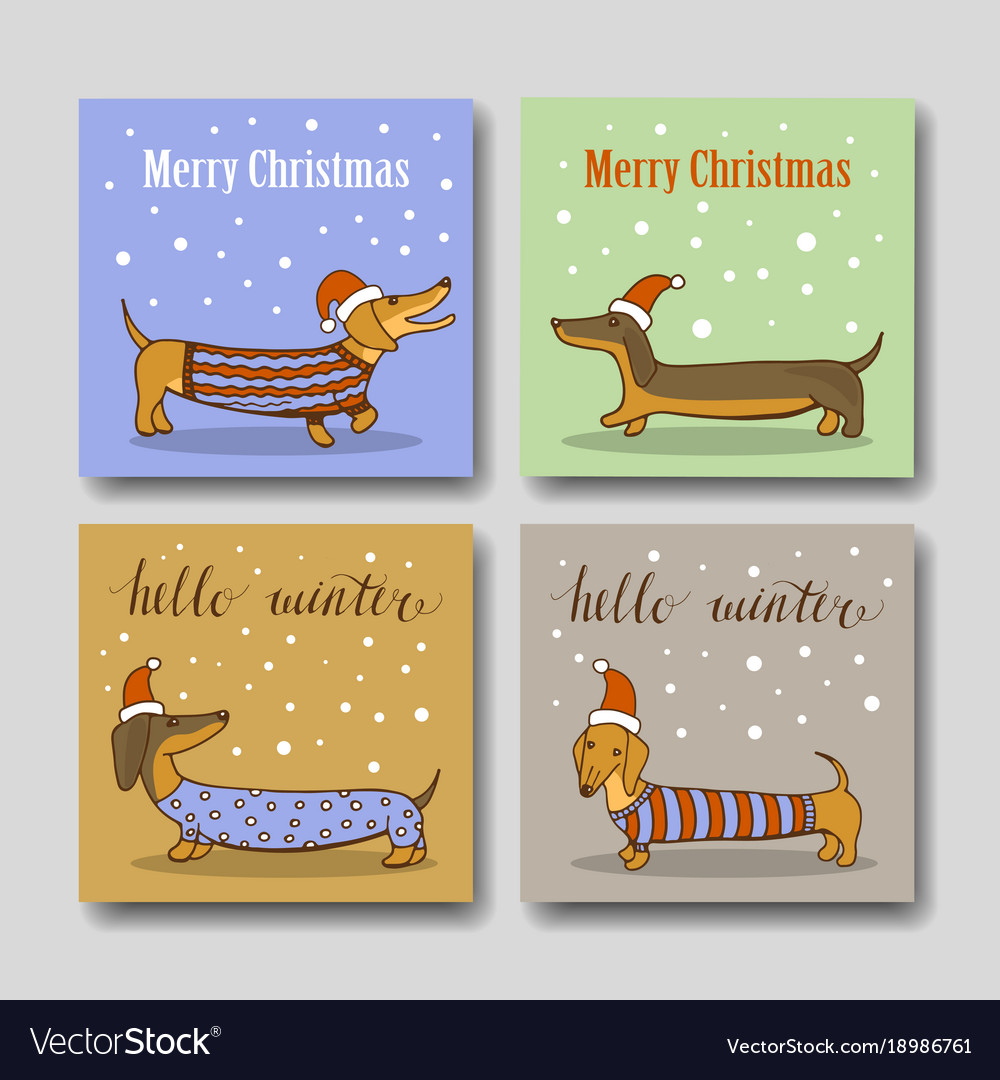 Christmas greeting cards with funny dachshund vector image m4hsunfo