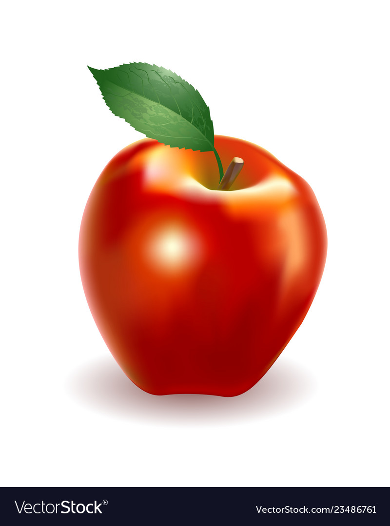 Detailed big shiny red apple