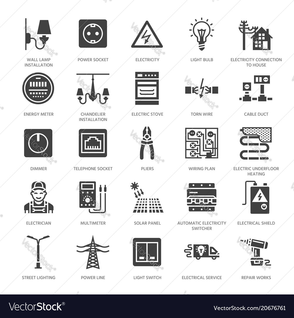 Electricity engineering flat glyph icons