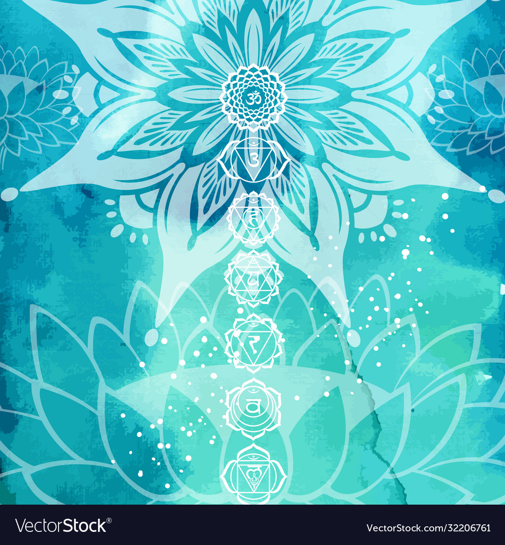 Esoteric colorful background with yoga symbols