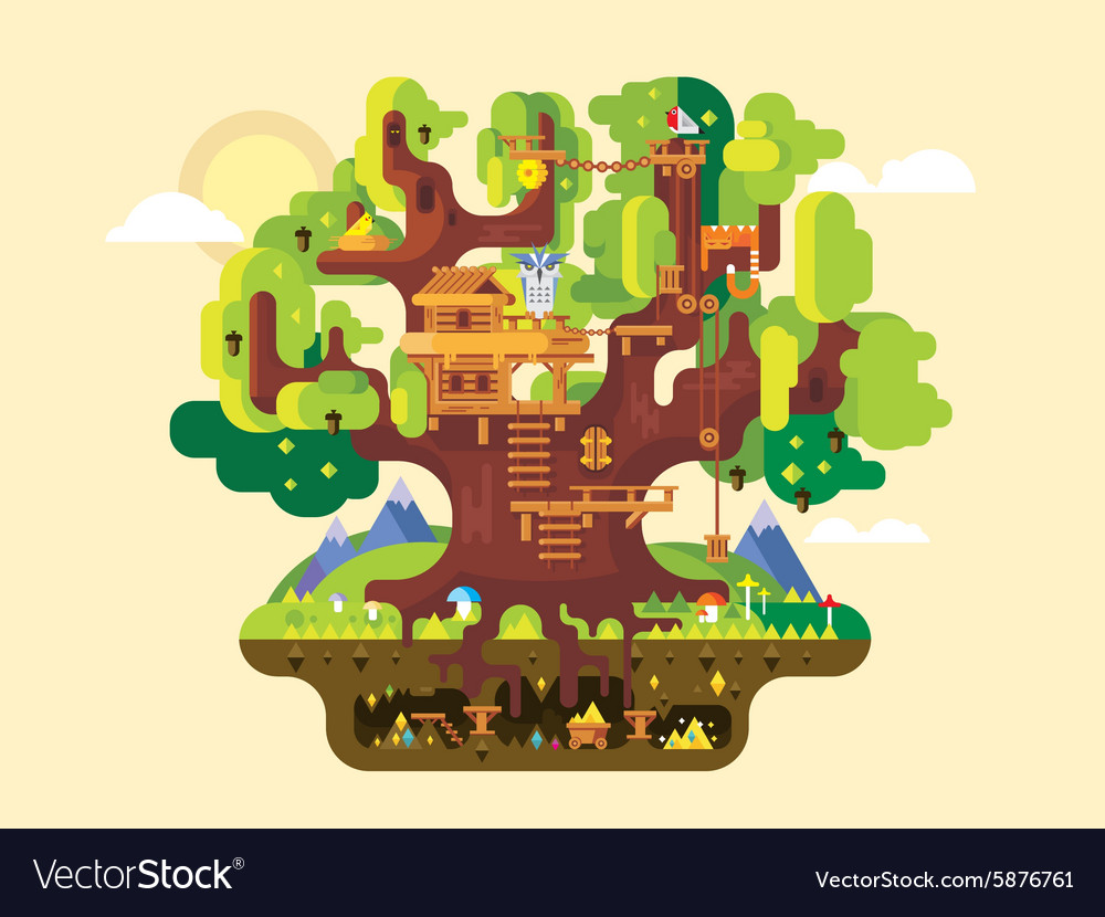 Fabulous tree house vector image