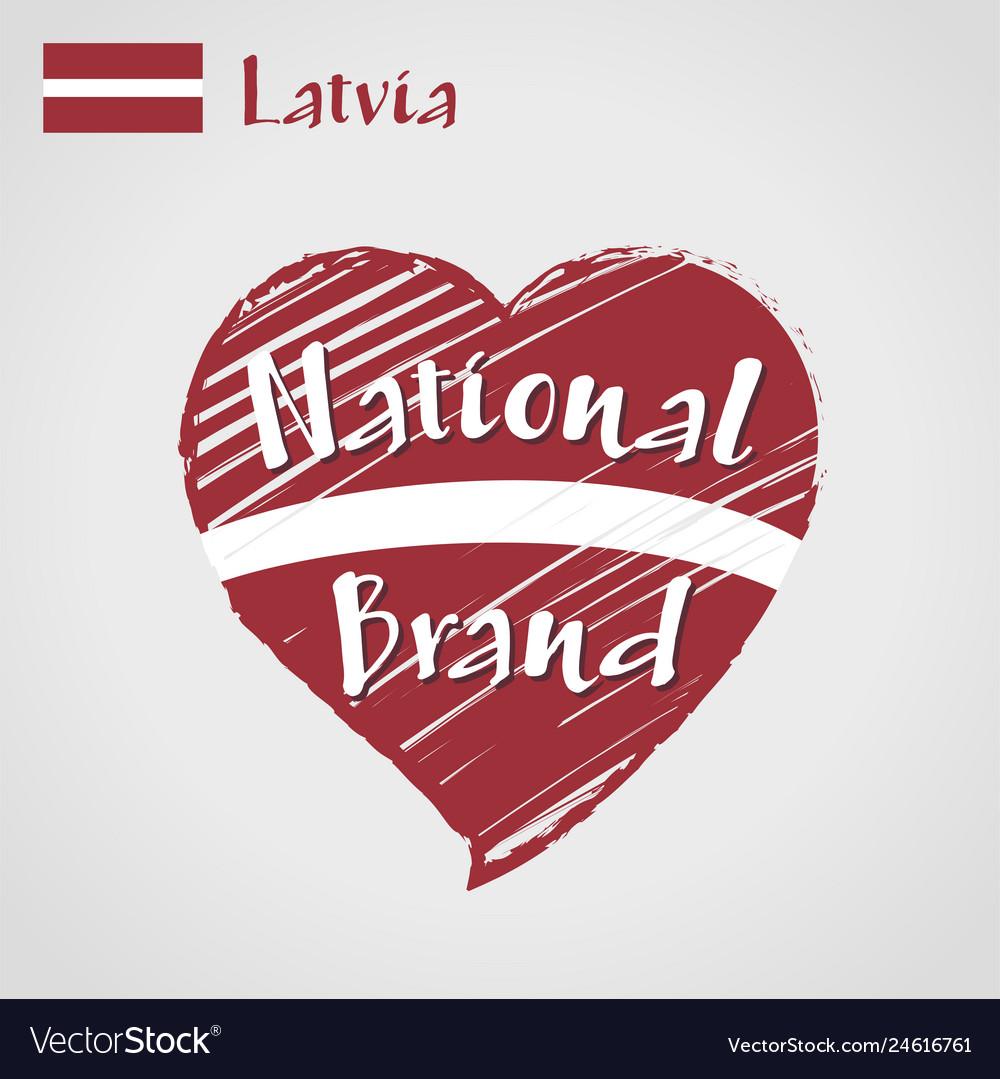 Flag heart of latvia national brand
