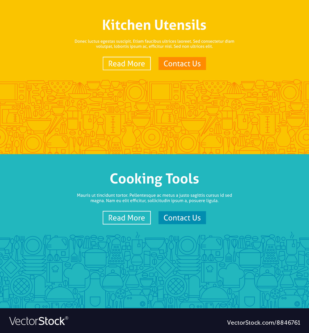 Kitchen and Cooking Line Art Web Banners Set