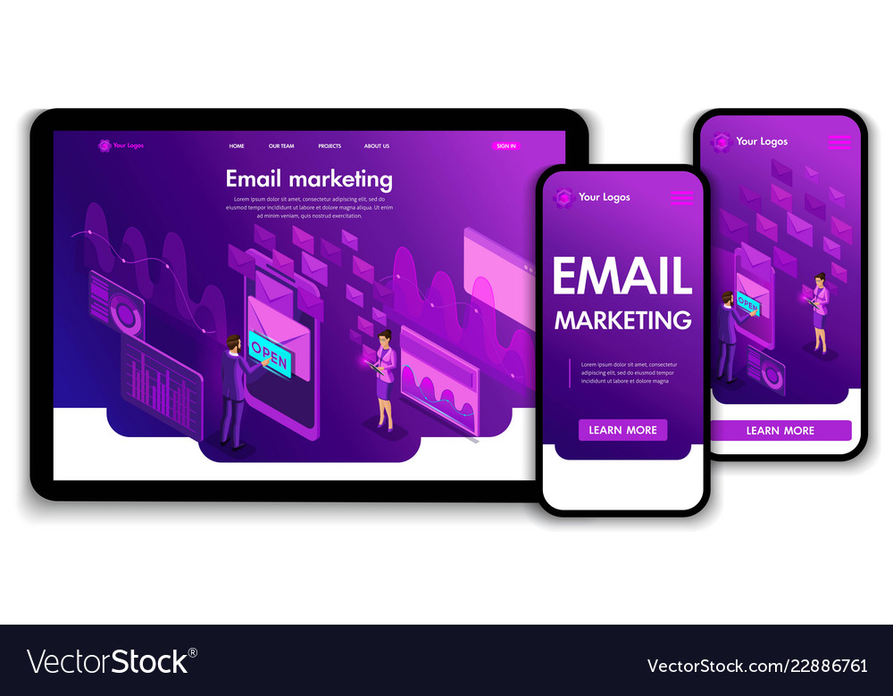 Landing page isometric concept business analysis