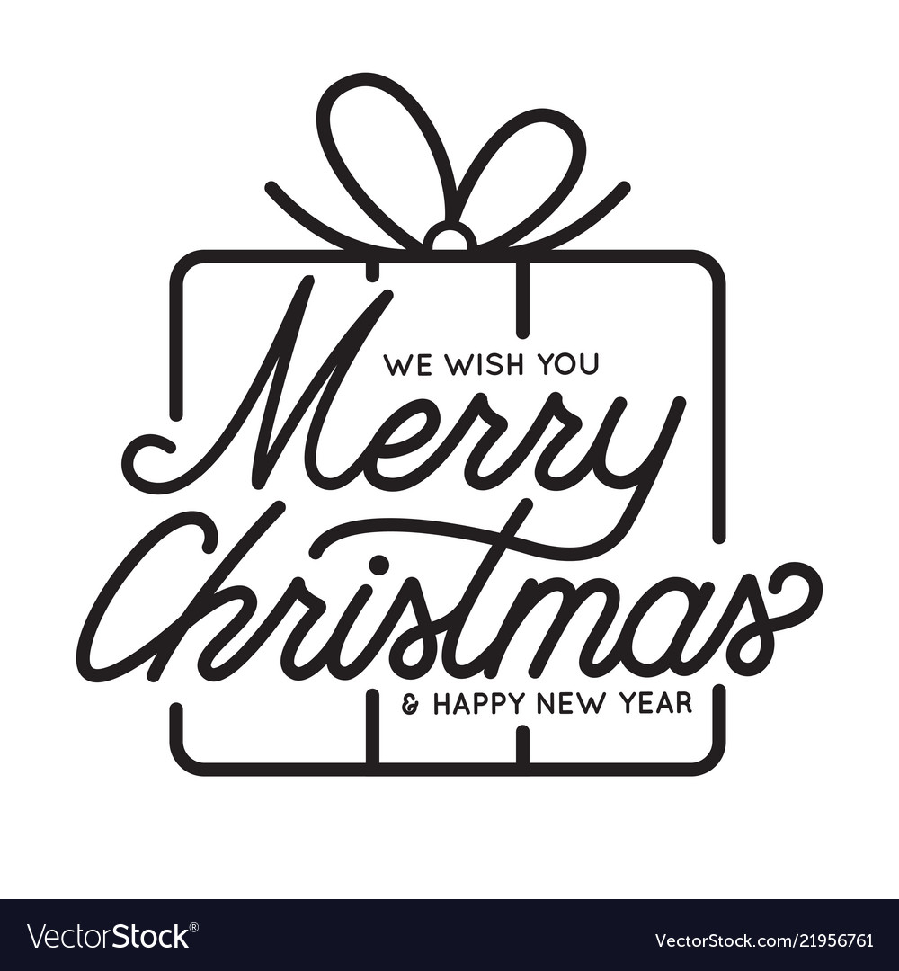 merry christmas and happy new year lettering vector image vectorstock