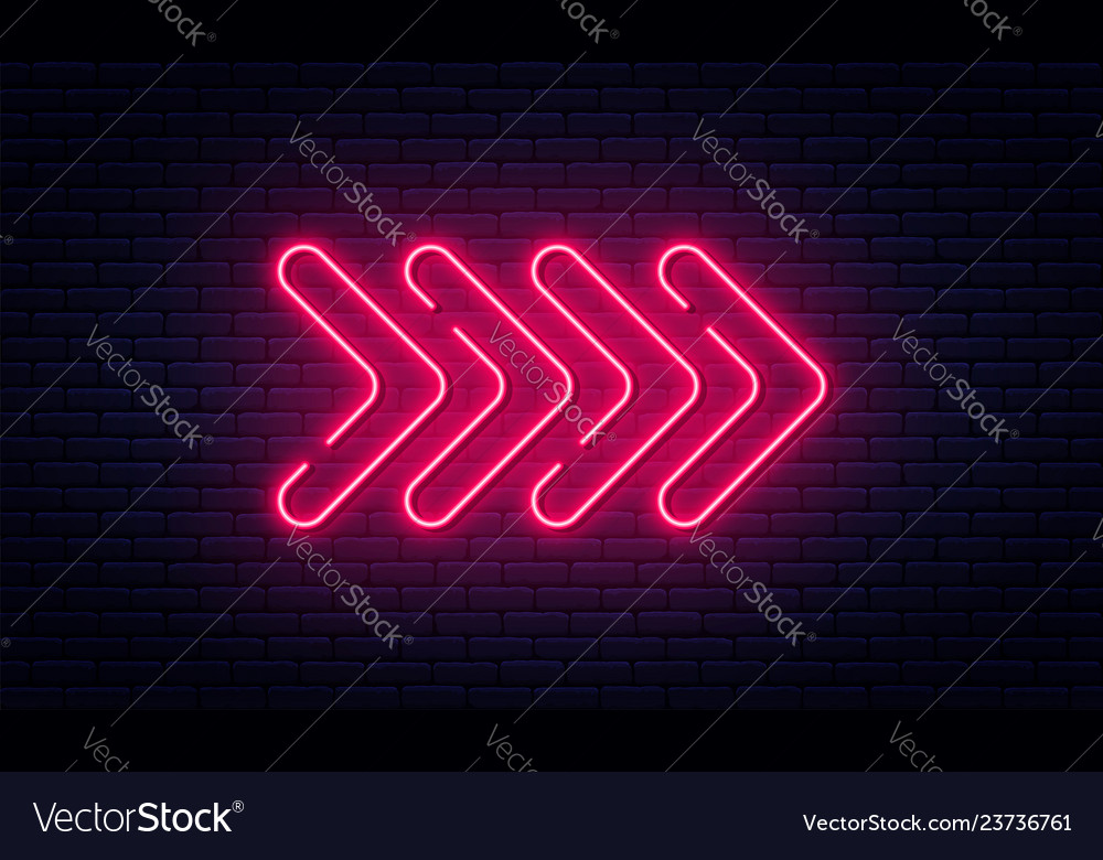Neon arrow sign glowing neon arrow pointer on