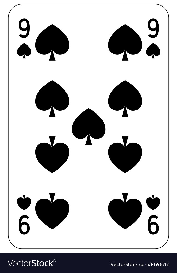Poker playing card 9 spade